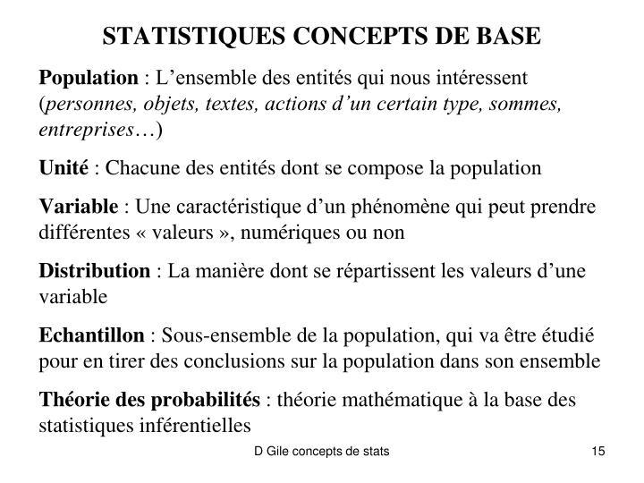 STATISTIQUES CONCEPTS DE BASE