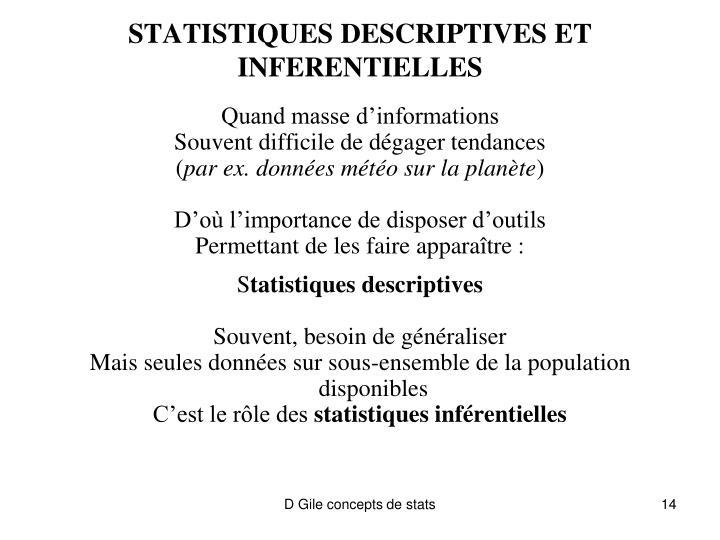 STATISTIQUES DESCRIPTIVES ET INFERENTIELLES