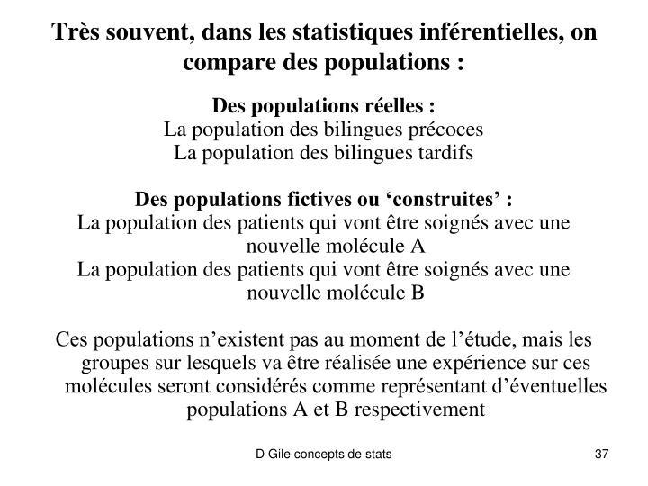 Très souvent, dans les statistiques inférentielles, on compare des populations :