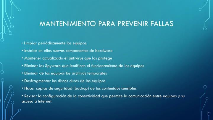 Mantenimiento para prevenir fallas
