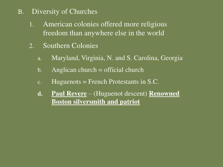 Diversity of Churches