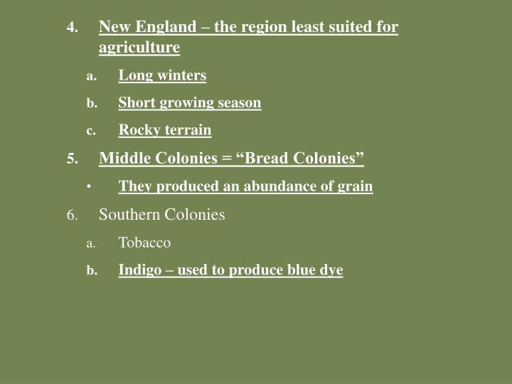 New England – the region least suited for agriculture