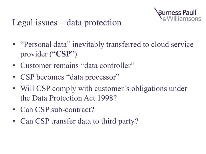 Legal issues – data protection