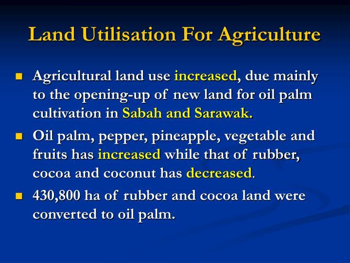Land Utilisation For Agriculture