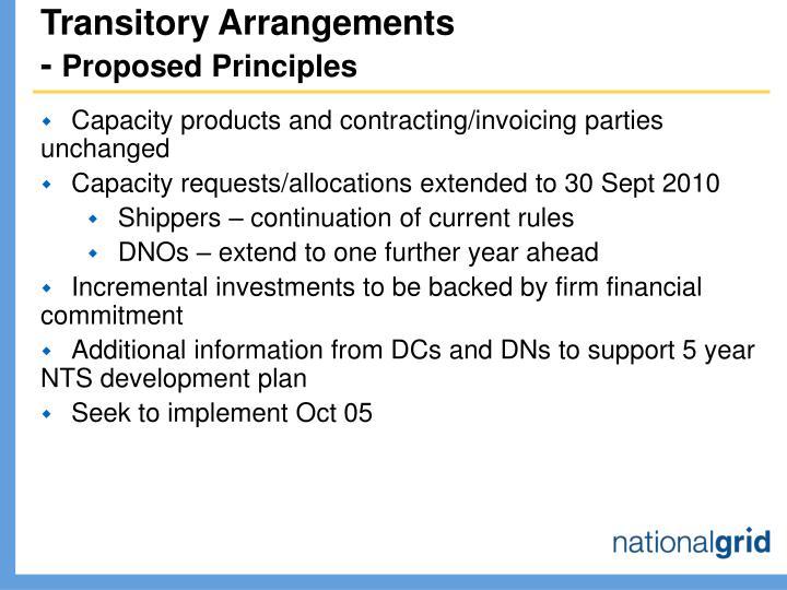 Transitory Arrangements