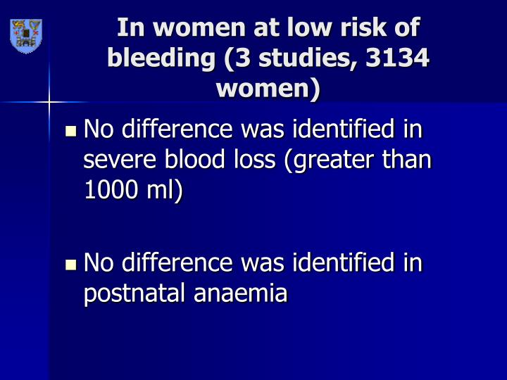 In women at low risk of bleeding (3 studies, 3134 women)