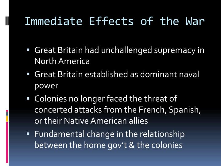 Immediate Effects of the War