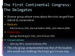 the first continental congress the delegates
