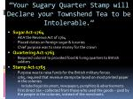your sugary quarter stamp will declare your townshend tea to be intolerable