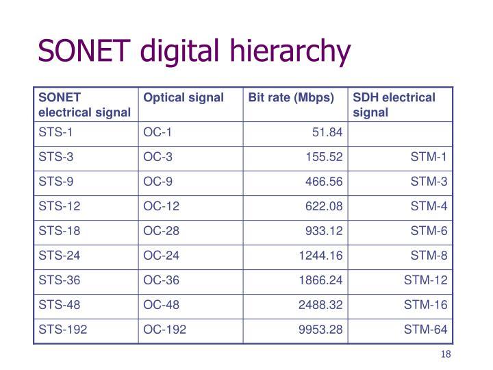 SONET digital hierarchy