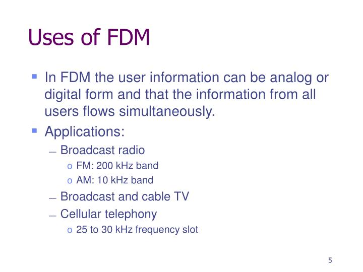 Uses of FDM