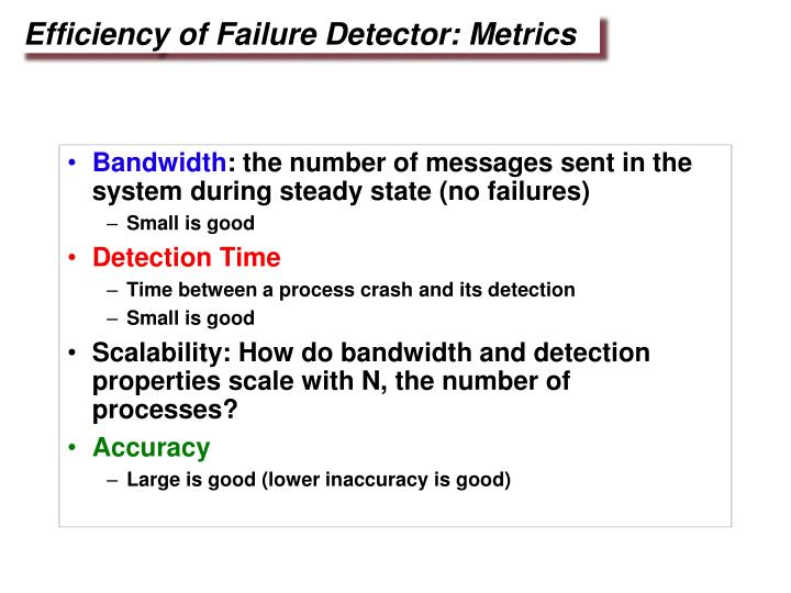 Efficiency of Failure Detector: Metrics