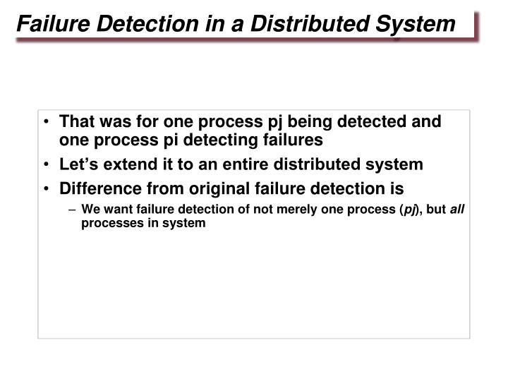 That was for one process pj being detected and one process pi detecting failures