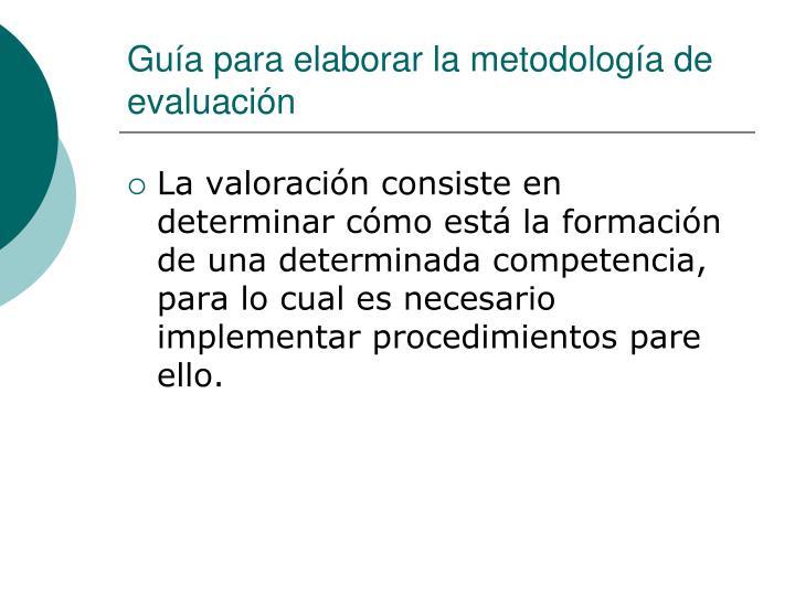 Guía para elaborar la metodología de evaluación