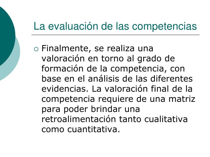 La evaluación de las competencias