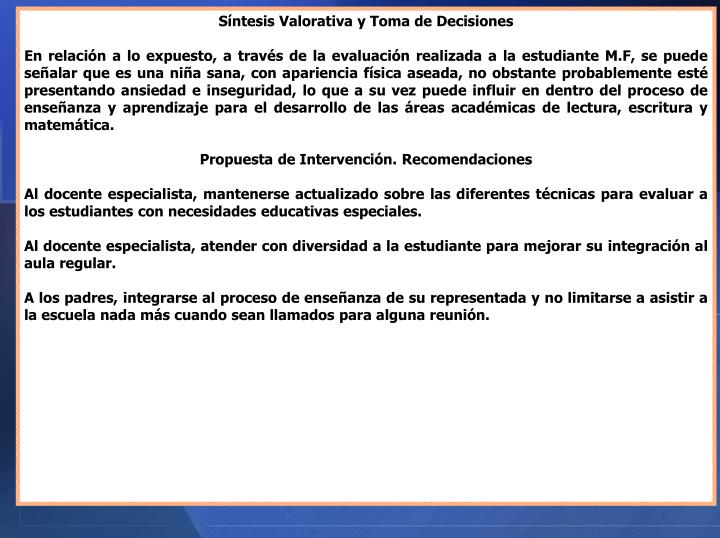 Síntesis Valorativa y Toma de Decisiones