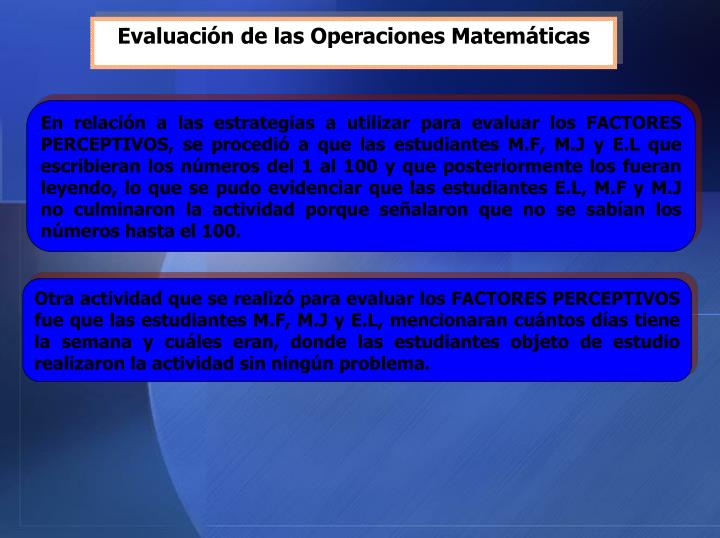 Evaluación de las Operaciones Matemáticas