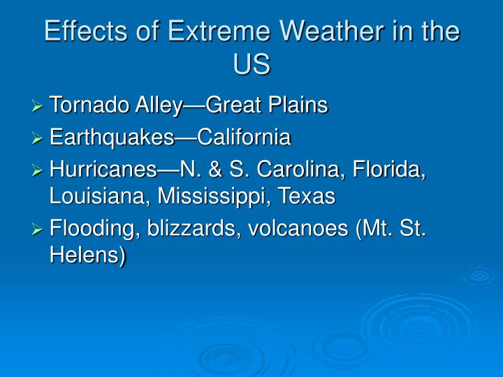 Effects of Extreme Weather in the US