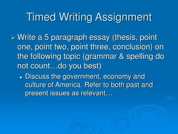 Timed Writing Assignment