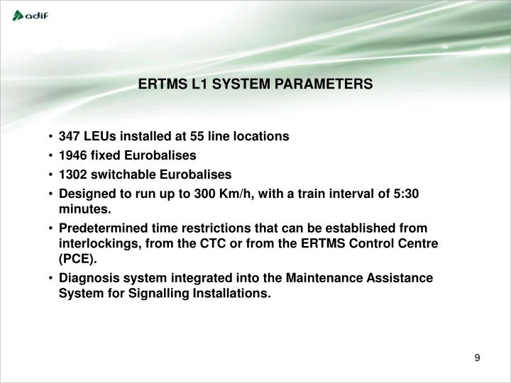 ERTMS L1 SYSTEM PARAMETERS
