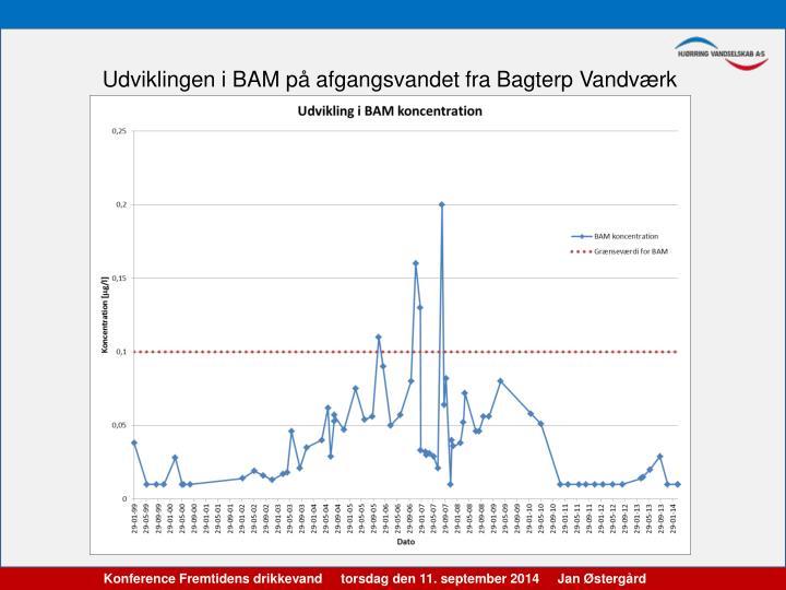 Udviklingen i BAM på afgangsvandet fra Bagterp