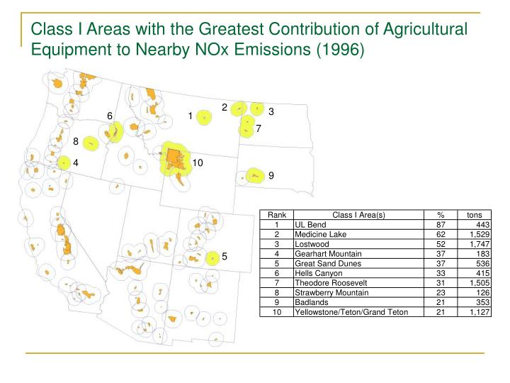 Class I Areas with the Greatest Contribution of Agricultural Equipment to Nearby NOx Emissions (1996)