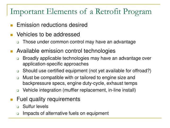 Important Elements of a Retrofit Program