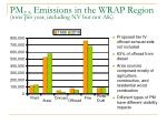 pm 2 5 emissions in the wrap region tons per year including nv but not ak