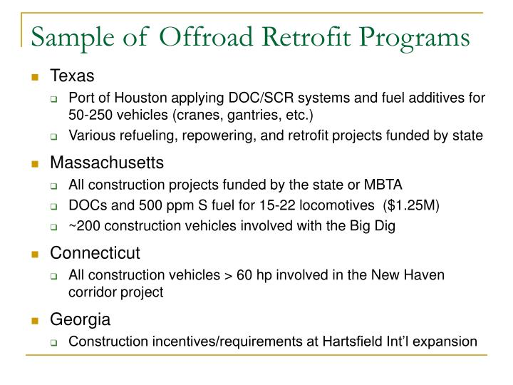 Sample of Offroad Retrofit Programs