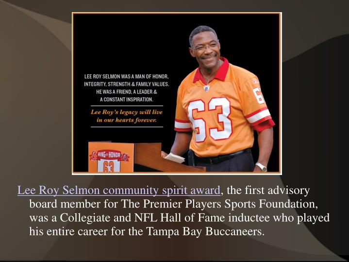 Lee Roy Selmon community spirit award