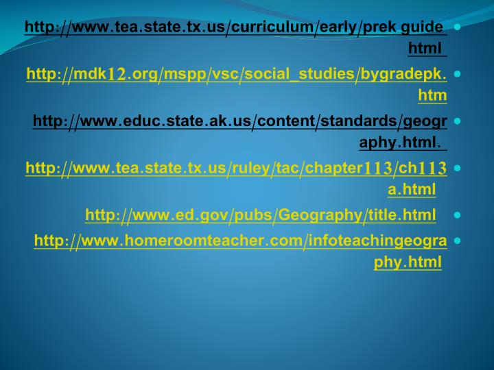 http://www.tea.state.tx.us/curriculum/early/prek guide html
