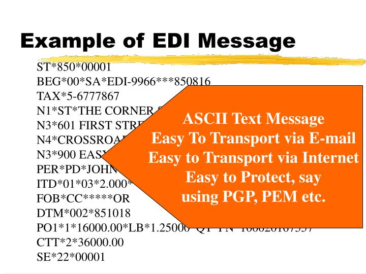 Example of EDI Message