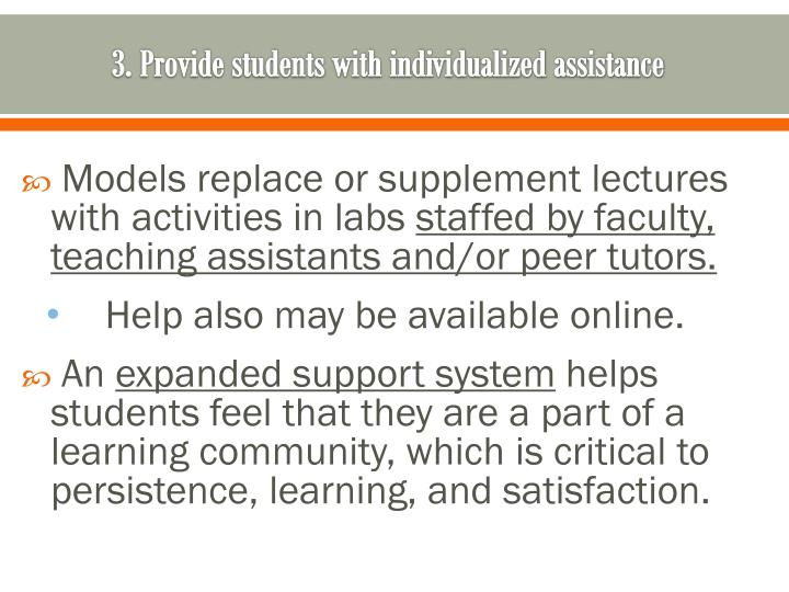 3. Provide students with individualized assistance