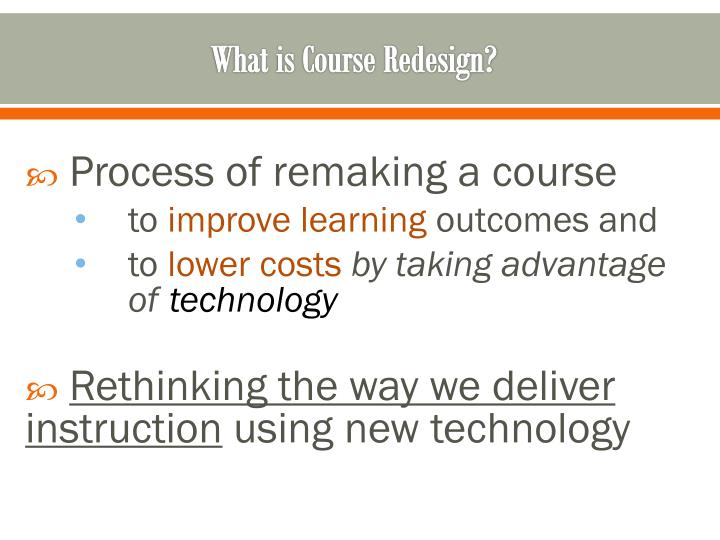 What is Course Redesign?
