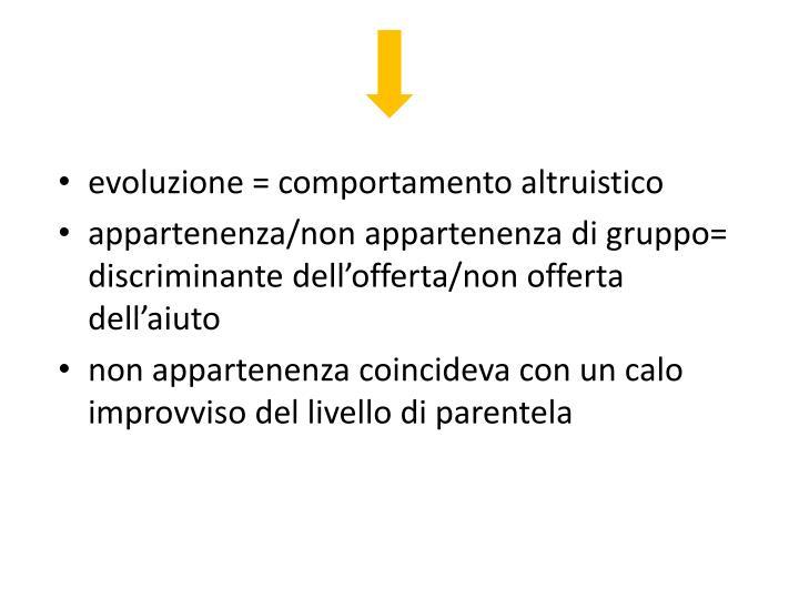 evoluzione = comportamento altruistico