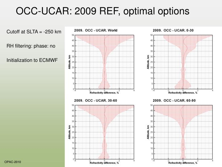 OCC-UCAR: 2009 REF, optimal options