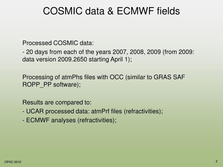 COSMIC data & ECMWF fields