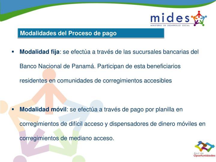 Modalidades del Proceso de pago