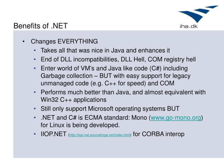 Benefits of .NET