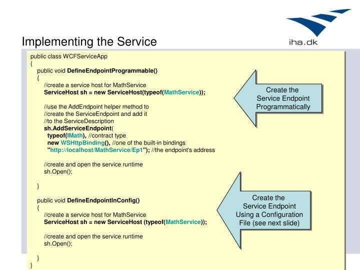Implementing the Service