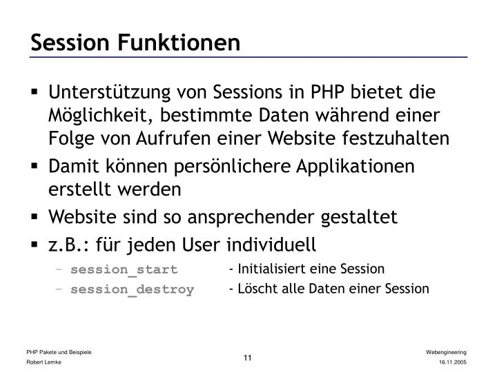 Session Funktionen