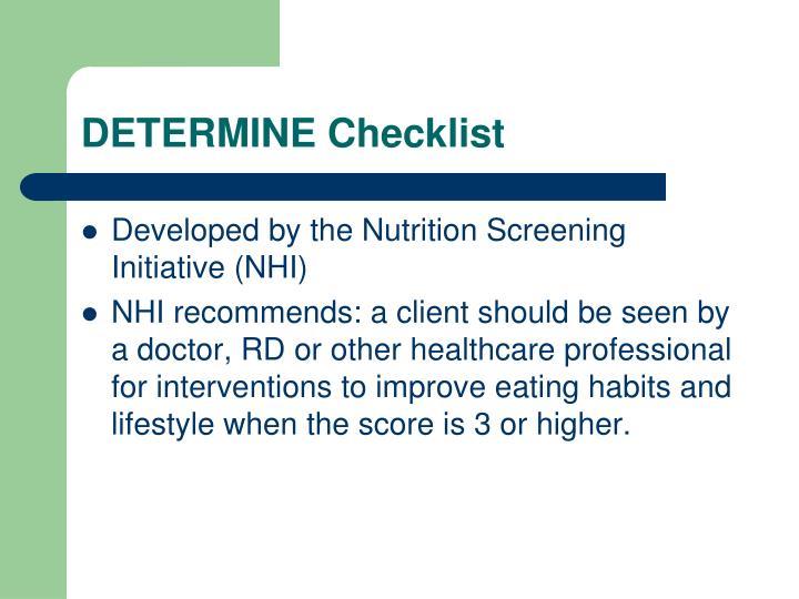 DETERMINE Checklist