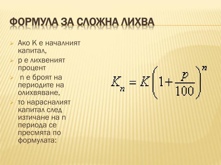 Формула за сложна лихва