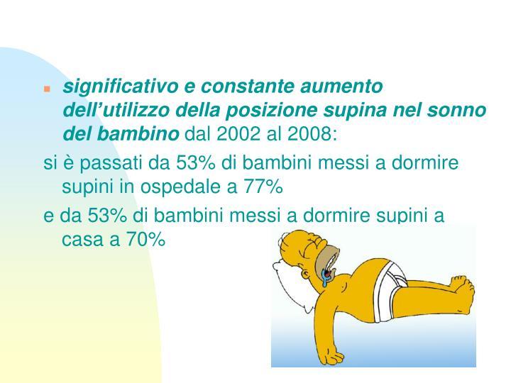 significativo e constante aumento dell'utilizzo della posizione supina nel sonno del bambino