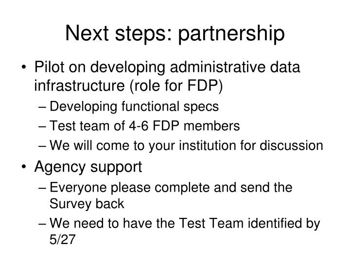 Next steps: partnership