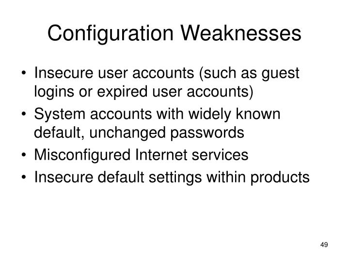 Configuration Weaknesses
