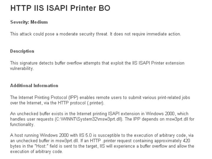 IPP Printer Overflow Attack