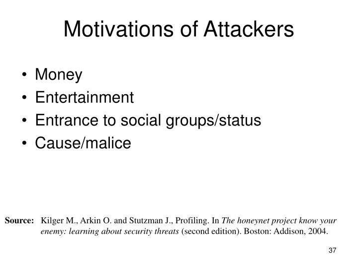 Motivations of Attackers