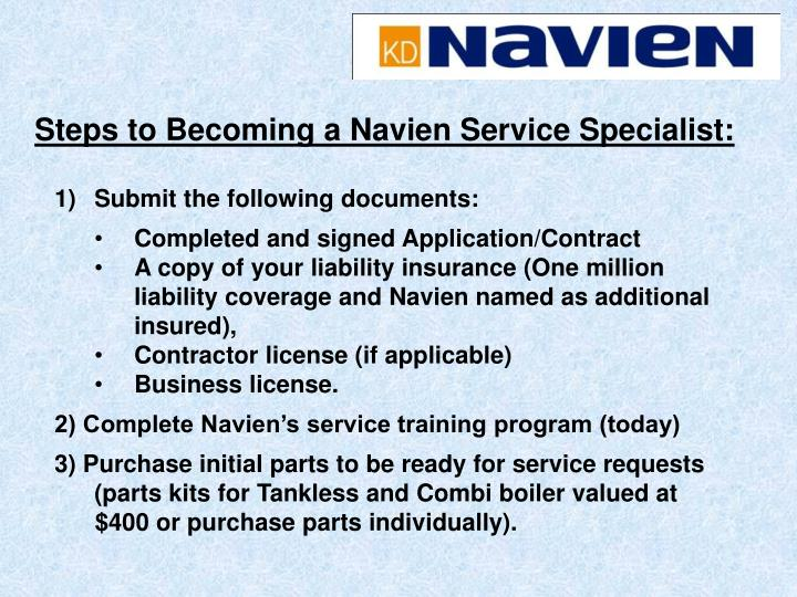 Steps to Becoming a Navien Service Specialist: