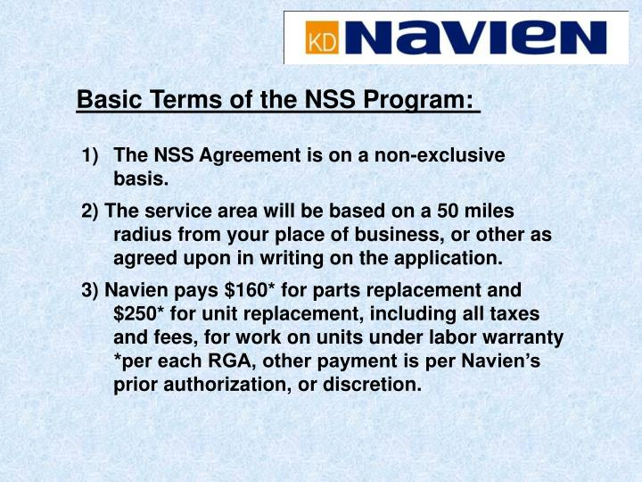 Basic Terms of the NSS Program: